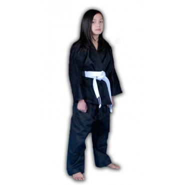 KS02 - Red Dragon Kids Black Poly-Cotton Karate Gi