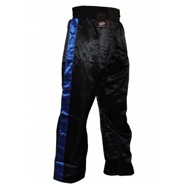Satin Kickboxing Trousers - Black and Blue