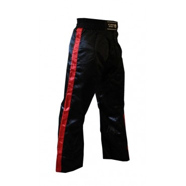 Satin Kickboxing Trousers - Black and Red
