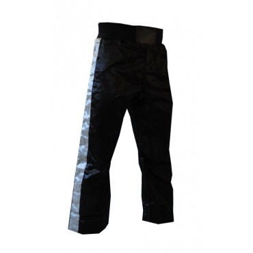 Satin Kickboxing Trousers - Black and Silver